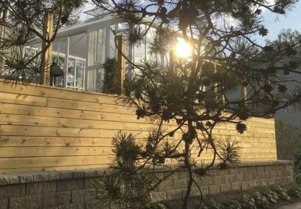Terraseringar med växthus